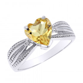 1.0ct Citrine and Diamond Beauty Engagement Ring in 9ct White Gold