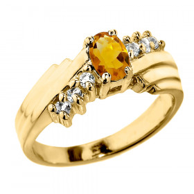0.5ct Citrine and Diamond Dazzle Ring in 9ct Gold