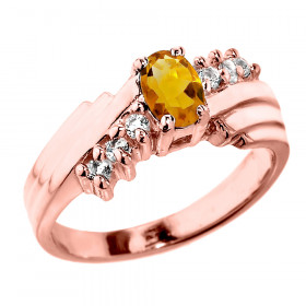 0.5ct Citrine and Diamond Dazzle Ring in 9ct Rose Gold