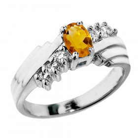 0.5ct Citrine and Diamond Dazzle Ring in 9ct White Gold