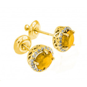 Citrine and Diamond Earrings in 9ct Gold