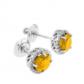 Citrine and Diamond Earrings in 9ct White Gold