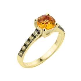 1.25ct Citrine and Diamond Engagement Ring in 9ct Gold