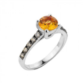 1.0ct Citrine and Diamond Engagement Ring in 9ct White Gold