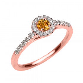 0.3ct Citrine and Diamond Halo Engagement Ring in 9ct Rose Gold