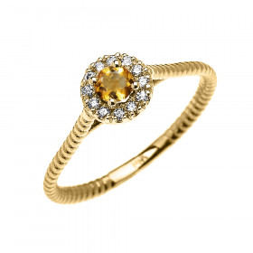 0.08ct Citrine and Diamond Halo Rope Promise Twisted Rope Ring in 9ct Gold