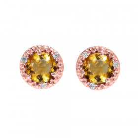 1.8ct Citrine and Diamond Halo Stud Earrings in 9ct Rose Gold