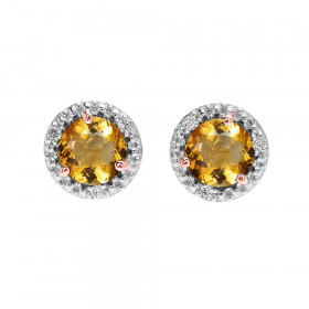 1.8ct Citrine and Diamond Halo Stud Earrings in 9ct Two-Tone Gold