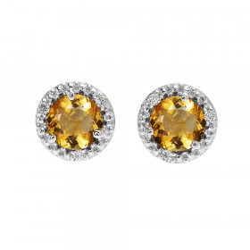 1.8ct Citrine and Diamond Halo Stud Earrings in 9ct White Gold