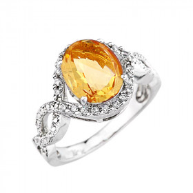 3.49ct Citrine and Diamond Infinity Halo Engagement Ring in 9ct White Gold