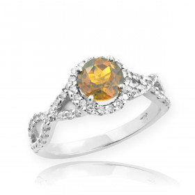 0.6ct Citrine and Diamond Infinity Halo Engagement Ring in 9ct White Gold