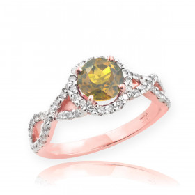 0.6ct Citrine and Diamond Infinity Ring in 9ct Rose Gold