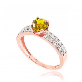 0.5ct Citrine and Diamond Pave Engagement Ring in 9ct Rose Gold