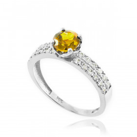 0.24ct Citrine and Diamond Pave Engagement Ring in 9ct White Gold