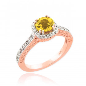 Citrine and Diamond Pave Halo Engagement Ring in 9ct Rose Gold