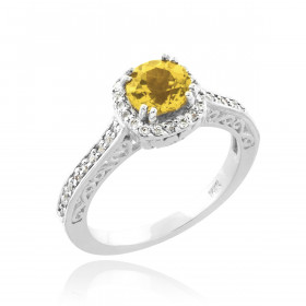 Citrine and Diamond Pave Halo Engagement Ring in 9ct White Gold