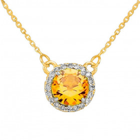 1.0ct Citrine and Diamond Pendant Necklace in 9ct Gold