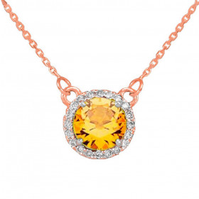 1.0ct Citrine and Diamond Pendant Necklace in 9ct Rose Gold