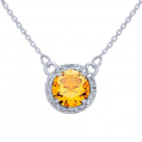 1.0ct Citrine and Diamond Pendant Necklace in 9ct White Gold