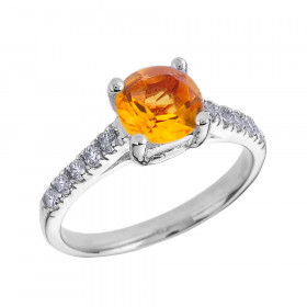 1.0ct Citrine and Diamond Solitaire Engagement Ring in 9ct White Gold