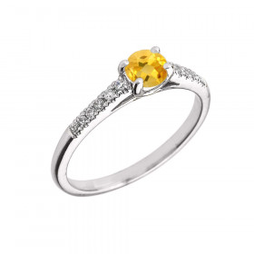 0.5ct Citrine and Diamond Solitaire Engagement Ring in 9ct White Gold