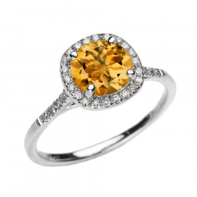1.24ct Citrine Halo Engagement Ring in 9ct White Gold