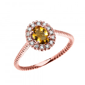 0.25ct Citrine Halo Rope Design Promise Ring in 9ct Rose Gold