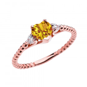 0.6ct Citrine Heart Beaded Band Promise Ring in 9ct Rose Gold