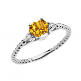 0.6ct Citrine Heart Beaded Band Promise Ring in 9ct White Gold