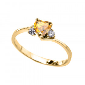 0.5ct Citrine Heart Promise Engagement Ring in 9ct Gold