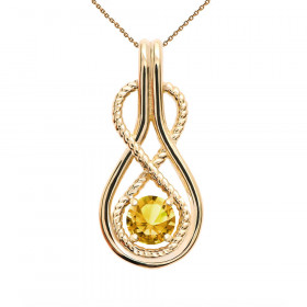 0.22ct Citrine Infinity Rope Pendant Necklace in 9ct Gold