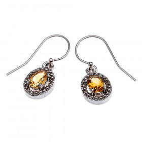 0.8ct Citrine Oval Drop Earrings in Sterling Silver