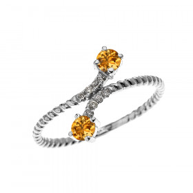 0.16ct Citrine Rope Design Promise Twisted Rope Ring in 9ct White Gold