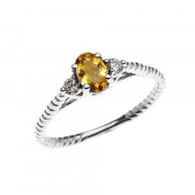 0.25ct Citrine Rope Design Promise Twisted Rope Ring in 9ct White Gold
