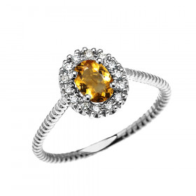 0.25ct Citrine Stackable Oval Halo Promise Ring in 9ct White Gold