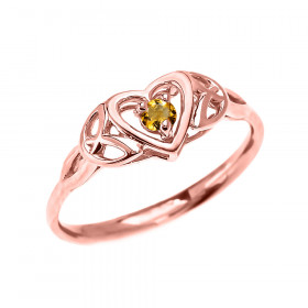 0.07ct Citrine Trinity Knot Heart Ring in 9ct Rose Gold