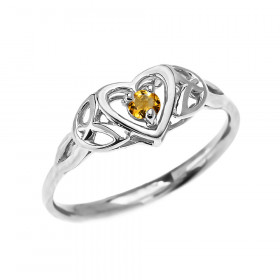 0.07ct Citrine Trinity Knot Heart Ring in 9ct White Gold