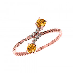 0.16ct Citrine Two Stone Rope Design Promise Twisted Rope Ring in 9ct Rose Gold