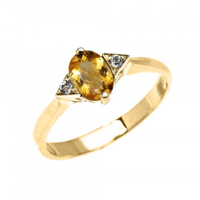 0.5ct Citrine and White Topaz Oval Engagement Ring in 9ct Gold