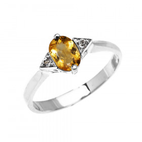 0.5ct Citrine and White Topaz Oval Engagement Ring in 9ct White Gold