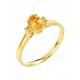 Citrine and White Topaz Ring in 9ct Gold