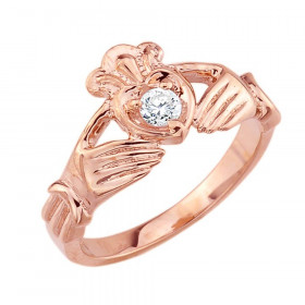 0.22ct Claddagh Engagement Ring in 9ct Rose Gold