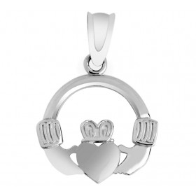 Claddagh Pendant Necklace in 9ct White Gold
