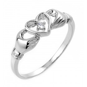 0.02ct Claddagh Ring in 9ct White Gold