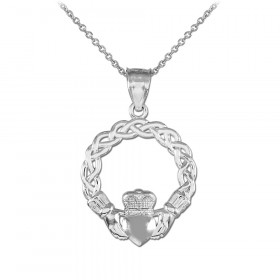 Classic Braided Claddagh Pendant Necklace in 9ct White Gold