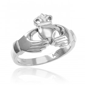 Classic Claddagh Engagement Ring in 9ct White Gold