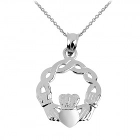 Classic Claddagh Pendant Necklace in Sterling Silver