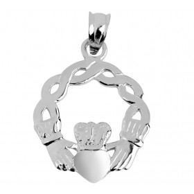 Classic Claddagh Pendant Necklace in 9ct White Gold