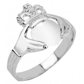 Classic Claddagh Ring in 9ct White Gold