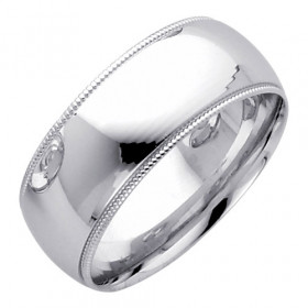 Classic Milgrain Wedding Ring in 9ct White Gold